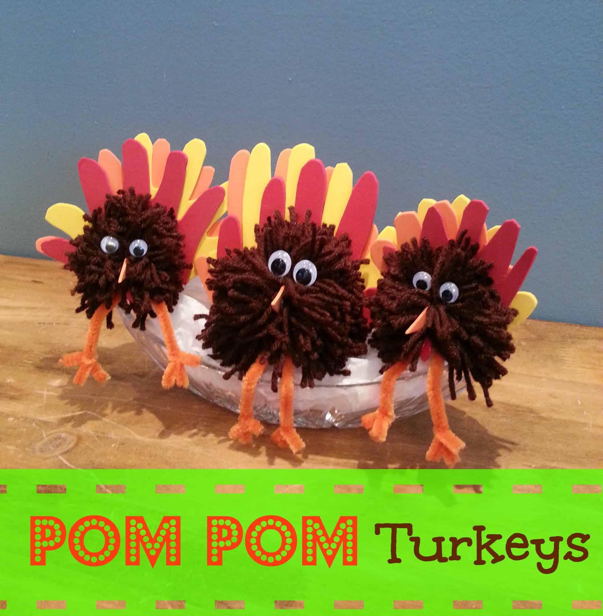 Turkey Craft: Pom Pom Turkey Centerpiece for Thanksgiving