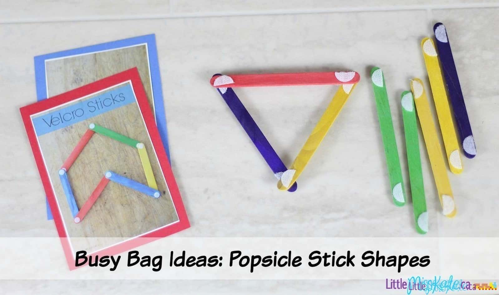 Easy No-Sew Busy Bag Idea – Velcro Popsicle Stick Shapes