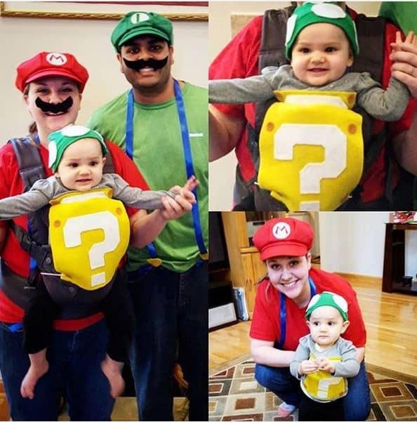 Super Mario Brothers babywearing costume ideas via littlemisskate.ca